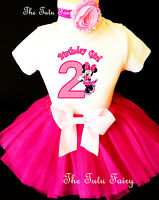 Minnie Mouse Hot Pink 2nd Second Birthday Shirt Tutu Outfit Set Party girl
