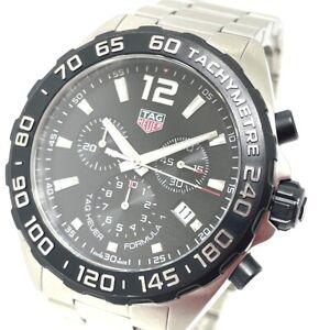 TAG HEUER CAZ1110 Formula 1 Chronograph Quartz date Wristwatch SS Black x Silver
