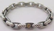 "David Yurman Sterling Silver 18k Gold Cable Maritime Chain Link Bracelet 8 3/8"""