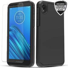 For Motorola Moto E6 Case, Dual Layer Shockproof Case + Glass Screen Protector