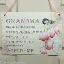 Grandma Gift you mean the world to me - Shabby Chic Plaque - Vintage Bird Sign