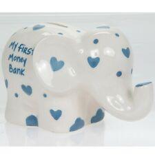 my first blue elephant money box piggy bank childs newborn coins gift present