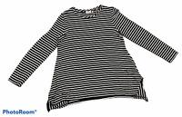 Woman's LOGO LORI GOLDSTEIN Black White Stripped Top Long Sleeve Size Medium M