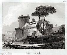 Roma:Ostia Antica:Rocca o Castello.Audot.Acciaio.Stampa Antica.Passepartout.1836
