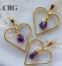 Gold Plated Heart Pendant AMETHYST DANGLE Point (PT46D-GS-G)