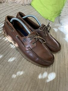 Timberland Deck Shoes Size 9 Men's Genuine Very Good Condition Brown