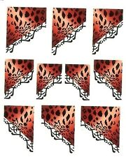 One Stroke Sticker French rotes Leopardenmuster Tattoo Aufkleber Nr.1150