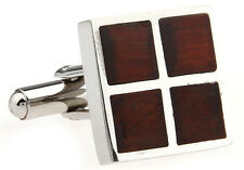 Wood and Stainless Steel Four Square Wedding Cufflinks by COWAN BROWN
