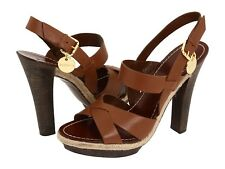 BCBG Polands Rich Brown Womens Leather Strappy Platform Adjustable Sandals Sz 9