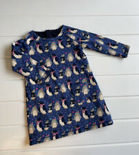 Baby Frugi Age 2-3 Years Dress Reversible Penguin Applique Print Organic Cotton