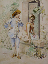 Marie DE GARAY (XIX-XX) Aquarelle framed listed artist french artist romantique