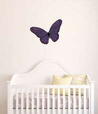 "CLR:FLAT - Patterned Butterfly - Vinyl Wall Decal ©YYDC (LG)(11""w x 7""h) COLORS"