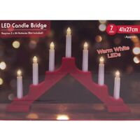 "7pc 16"" Christmas Warm White LED Red Candle Bridge Ornament Decoration Xmas"