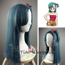 Halloween Wig Costume Dragon Ball Bulma Blue Lange Cosplay Heat Resistant Hair