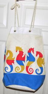Vintage Canvas Beach Bag Tote Seahorses Plastic Lined Rope Handle