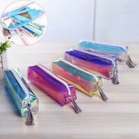 Holographic Laser Pencil Case Zipper Travel Box Transparent Makeup Pouch Pen Bag