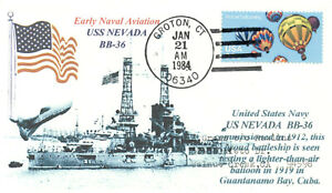 USS NEVADA BB-36 US Navy Battleship: Balloon Guantanamo Bay 1919 Handstamp PM
