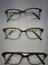 Rectangular Clubmaster Reading Glasses w/Pouch, 3 Pack +2.50