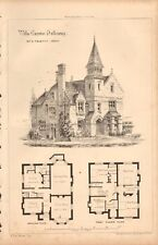 1866 ANTIQUE ARCHITECTURE, DESIGN PRINT- VILLA CARENO, TUFNELL PARK, HOLLOWAY
