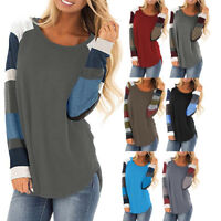 Women Long Sleeve Striped Shirt Casual Loose Top T-Shirt Blouse Tunic Sweatshirt