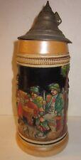 Vintage German Lidded Stoneware Beer Stein Mug 0.5 L -WESTERN GERMANY-