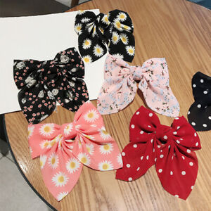 Large Floral Printed Bowknot Hair Clips Bow Hairpins Barrette Hair Accessories