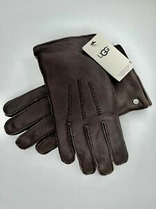 NWT Ugg Men's Wrangell Touch Screen Smart Tech Brown Leather Gloves $95