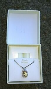 """10k Yellow Gold Natural Citrine and Diamond Necklace with 18"""" inch Chain"""