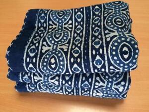 Twin Indigo Kantha Tapestry Quilt Throw Blanket Bedspread Boho Bohemian Indian