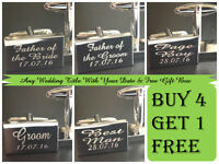 Silver PERSONALISED Wedding Cufflinks Cuff Links Gift Best Man Groom usher  JP1A
