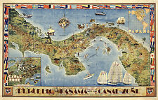 Pictorial Map Republic of Panama Canal Zone Central America History Wall Poster