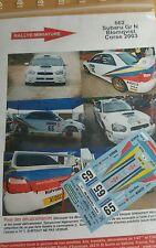 DECALS 1/24 REF 662 SUBARU IMPREZA BLOMQVIST TOUR DE CORSE 2003 RALLYE RALLY WRC