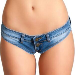 Low Rise Mini Jean Shorts Cheeky Back Button Fly Denim Micro Belt Loops BWJ2BL