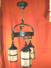 1920s GOTHIC ARTS & CRAFTS 3 LIGHT CHANDELIER W/ PEBBLED GLASS