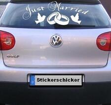 Just Married Auto Heckscheiben Aufkleber, Hochzeit, Ehe, Vermählung