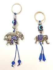 LOT of 2 Elephant Key Chain Hanging Rings Feng Shui Blue Evil Eye Protection
