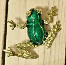 enamel Ab rhinestone green enamel frog brooch pin Qvc