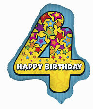 "Number 4 Foil Shaped Balloon 25"" 25 inch foil balloon 4th birthday"