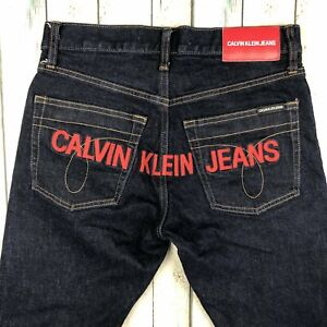 Calvin Klein Logo Seat Mens Tapered  Slim Fit Jeans - Size 28/32