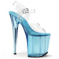 Pleaser FLAMINGO-808T Womens Clear Light Blue Tinted Platform Sandals High Heel