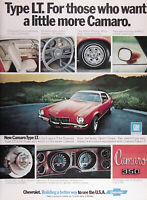 1973 CHEVROLET CAMARO TYPE LT Lot of (2) Original Vintage Ads ~ FREE SHIPPING!