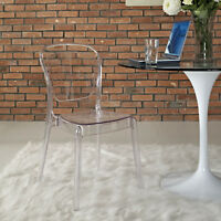 Contemporary Modern Acrylic Transparent Plastic Dining Side Chair in Clear