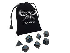 Icy Doom | Shiny Black Nickel Finish with Blue Numbers Metal Dice(7 Die in Pack)