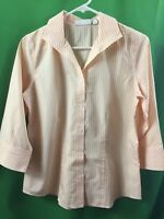 8435) CHICO'S   0 orange stripe button down shirt blouse cotton no iron 0
