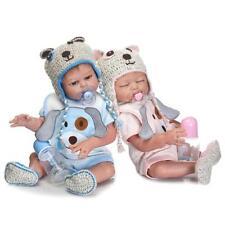 "22""Full Silicone Body Reborn Baby Twin Doll Lifelike Newborn Boy Girl Toy Gift"