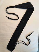 Vtg 60s Black Wool Jet Bead Women's Cummerbund Belt 30�w/12� Dbl Ties