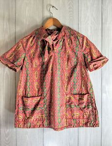 Vintage Linen Paisley Short Sleeve Pattered Shirt with scarf SIZE M