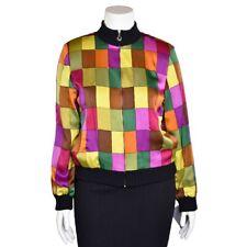 St. John Sport Vintage Color Block Silk Bomber Jacket w/ Santana Knit Trim sz S