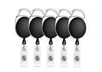 ljdeals Retractable Badge Holder Carabiner Reel Clip On Card Holders, Pack of 5