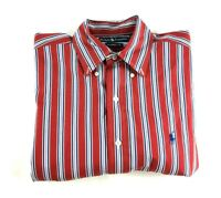 Ralph Lauren Mens Red Vintage Vertical Striped L/S Button Front Shirt 15 Medium